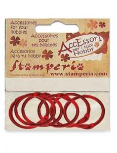 Кольца для скрапбукинга металлические красные, 6 шт., диам.3,5 см, Stamperia (Италия)