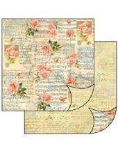 """Бумага для скрапбукинга двусторонняя """"Музыка, розы, орнамент"""" Stamperia, 31,2х30,3 см"""