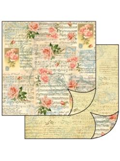 Бумага для скрапбукинга Музыка, розы, орнамент Stamperia, 31,2х30,3 см