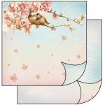 """Бумага для скрапбукинга двусторонняя """"Цветок персика, птички"""" Stamperia, 31,2х30,3 см"""
