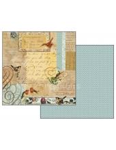 "Бумага для скрапбукинга двусторонняя ""Письма и птицы"", Stamperia, 31,2х30,3 см"