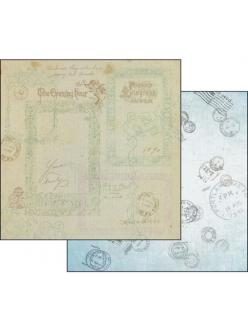 Бумага для скрапбукинга Почтовые штампы Stamperia, 31,2х30,3 см