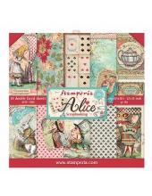 """Набор бумаги для скрапбукинга """"Алиса в стране чудес"""", 10 листов, 20,5 х 20,5 см, Stamperia"""