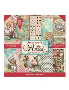 """Набор бумаги для скрапбукинга """"Алиса"""", 10 листов, 30,5 х 30,5 см, Stamperia"""