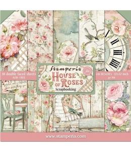 """Набор бумаги для скрапбукинга """"Дом из роз"""", 10 листов, 20,5 х 20,5 см, Stamperia"""