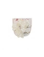 """Цветы бумажные """"Белый букет с кружевом"""", 6 цветков, Stamperia (Италия)"""