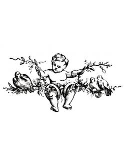 Штамп силиконовый Ангел, голуби, 5х7см, Stamperia WTK054