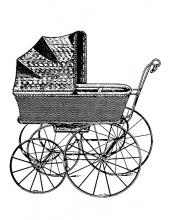 """Штамп силиконовый WTK098 """"Детская коляска, винтаж"""", 5х7 см, Stamperia"""