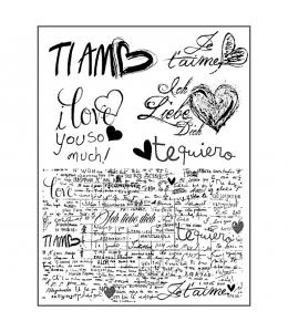 "Набор резиновых штампов WTKCC87 ""I love you writing"", 6 шт., Stamperia, 14х18 см"
