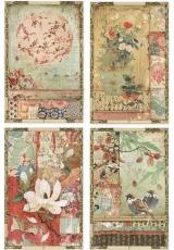 """Рисовая бумага для декупажа Stamperia DFSA4396 """"Японские открытки"""", формат А4"""