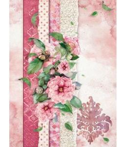 "Рисовая бумага для декупажа Stamperia DFSA4415 ""Цветы для вас, розовый"", формат А4"