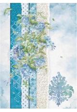 """Рисовая бумага для декупажа Stamperia DFSA4417 """"Цветы для вас, синий"""", формат А4"""