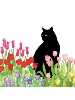 Салфетка для декупажа Тюльпаны и черная кошка, 33х33 см, Германия