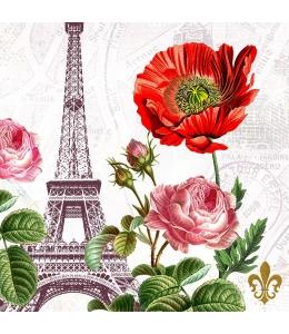 """Салфетка для декупажа """"Эйфелева башня и цветы"""", 33х33 см, Германия"""