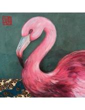 """Салфетка для декупажа """"Розовый фламинго"""", 33х33 см, Германия"""