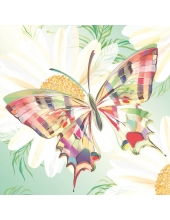 "Салфетка для декупажа ""Бабочка и ромашки"", 33х33 см, Германия"