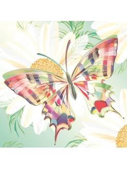 Салфетка для декупажа Бабочка и ромашки, 33х33 см, Германия