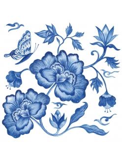 Салфетка для декупажа Синий пион, 33х33 см, Германия
