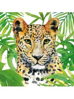 Салфетка для декупажа Леопард в тропиках, 33х33 см, Германия