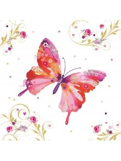 Салфетка для декупажа Милая бабочка, 33х33 см, Германия