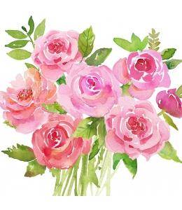 "Салфетка для декупажа ""Букет роз"", 33х33 см, Германия"