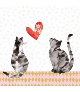 """Салфетка для декупажа """"Влюбленные кошки"""", 33х33 см, Германия"""