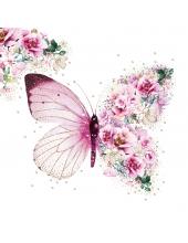 "Салфетка для декупажа ""Розовая бабочка"", 33х33 см, Германия"