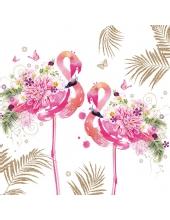"""Салфетка для декупажа """"Цветочные фламинго"""", 33х33 см, Германия"""