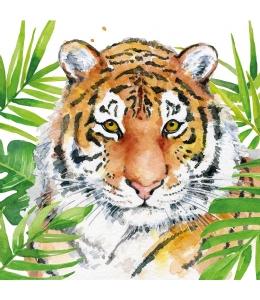 "Салфетка для декупажа ""Тигр в тропиках"", 33х33 см, Германия"