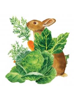 Салфетка для декупажа Кролик в огороде, 33х33 см, Германия