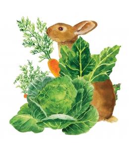 """Салфетка для декупажа """"Кролик в огороде"""", 33х33 см, Германия"""