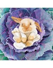 """Салфетка для декупажа """"Кролик в капусте"""", 33х33 см, Германия"""