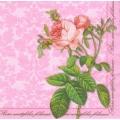 """Салфетка для декупажа """"Роза на розовом фоне"""", 25х25 см, Германия"""