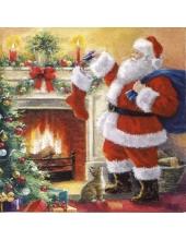 "Салфетка для декупажа ""Санта с подарками у камина"", 33х33 см, Германия"