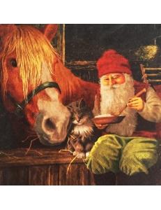 """Салфетка для декупажа """"Гном и лошадь"""", 33х33 см, Германия"""