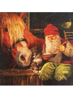 Новогодняя салфетка для декупажа Гном и лошадь, 33х33 см, Германия