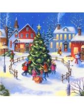 """Салфетка для декупажа """"Рождественская елка и дети"""", 33х33 см, Германия"""