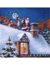 """Салфетка для декупажа """"Санта с оленями на крыше"""", 33х33 см, Германия"""
