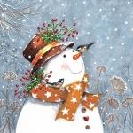 """Салфетка для декупажа """"Снеговик с золотым шарфом"""", 33х33 см, Германия"""