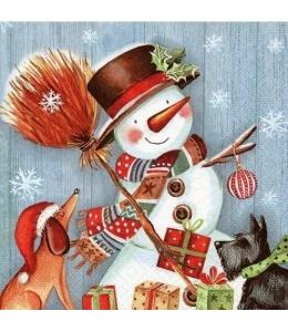 "Салфетка для декупажа ""Снеговик с метлой"", 33х33 см, Германия"