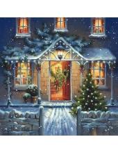 "Салфетка для декупажа ""Домой на Рождество"", 33х33 см, Германия"
