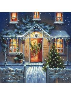 Новогодняя салфетка для декупажа Домой на Рождество, 33х33 см, Германия