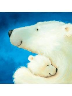 Салфетка для декупажа Белая медведица с медвежонком, 33х33 см, Германия