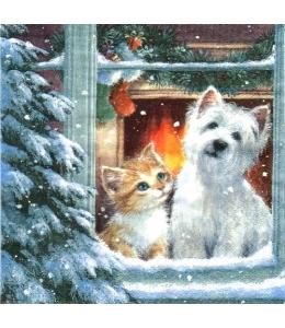 """Салфетка для декупажа """"Щенок и котенок у окна"""", 33х33 см, Германия"""