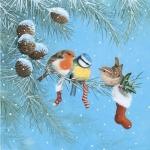 """Салфетка для декупажа """"Птицы и рождественские носки"""", 33х33 см, Германия"""