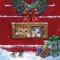 """Салфетка для декупажа """"Рождественские котята"""", 33х33 см, Германия"""