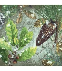 """Салфетка для декупажа """"Шишки и листья"""", 33х33 см, Германия"""