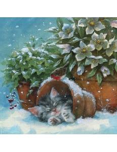 """Салфетка для декупажа """" Котенок и зимние цветы"""", 33х33 см, Германия"""