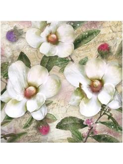 Салфетка для декупажа Белые цветы, 33х33 см, Германия