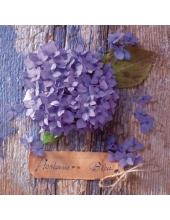 """Салфетка для декупажа """"Фиолетовая гортензия"""", 33х33 см, Германия"""